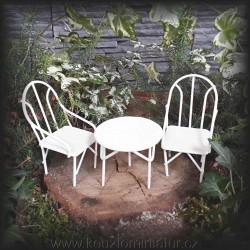 Stůl a 2 židle, bílá