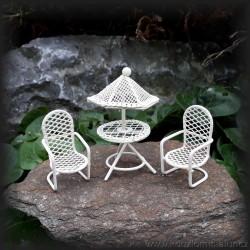 Stůl se slunečníkem a dvě židle MINI, bílá