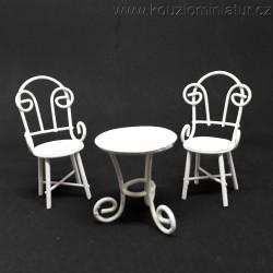 Stůl a dvě židle MINI, bílá